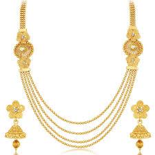 gold plated necklace images Stylish jalebi 4 string gold plated necklace set for women gifts jpg