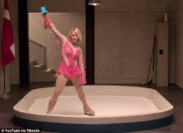 viagra commercial actress brunette blue dress chelsea handler one ups sarah silverman in super bowl commercial