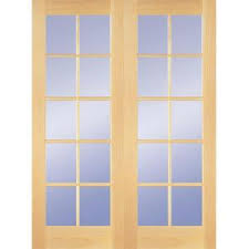 home depot interior double doors builders choice 48 in x 80 in 10 lite clear wood pine prehung