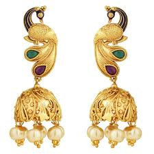 peacock design earrings buy spargz wedding wear brass gold plated matte finish ruby with