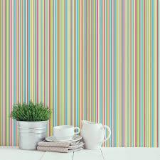 coloroll martez stripe wallpaper multi blue and grey feature wall