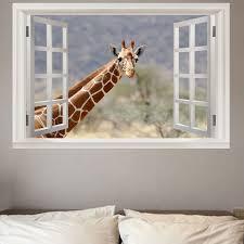home decor giraffe 2018 faux window giraffe home decor wall art sticker colorful w inch