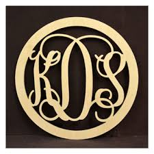 Monogramed Letters Wooden Monogram Letters With Round Border Monogramcrafty
