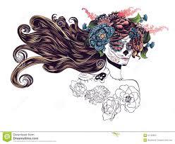 sugar skull in flower crown stock vector illustration of