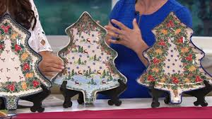 lidia u0027s polish pottery handmade christmas tree platter on qvc