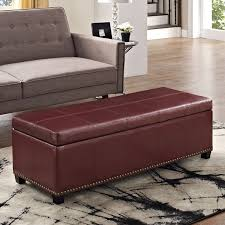 adeco red bonded leather tufted storage ottoman classic leather