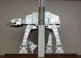 bookend at at on a leash starwars book ends