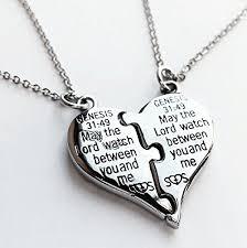 steel heart necklace images Split heart necklace 2 piece heart necklace jpg