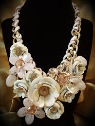big flower necklace images White large crystal flower necklace funky little peach jpg