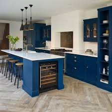 cupboards with light floors navy kitchen ideas to add an element of rich colour and