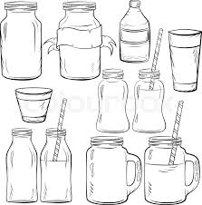 glass bottles sketches set for smoothie and milk yogurt and fresh