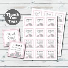 pink elephant baby shower favor tags elephant printable thank