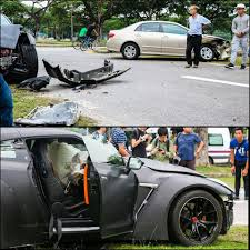 nissan singapore 18 year old crashes nissan gt r into a corolla in singapore