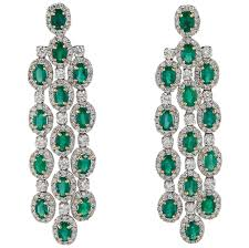 chandelier earings emerald diamond gold chandelier earrings for sale at 1stdibs