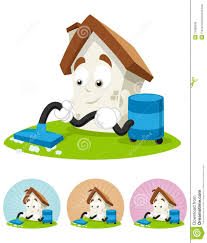 house cartoon mascot cleaning the house royalty free stock photo