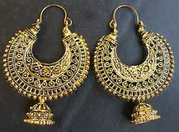 antique gold jhumka earrings vintage antique gold plated ring chand bali indian jhumka earrings