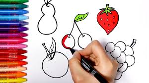 art for kids how to draw and color fruits how to draw and color