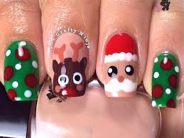 christmas santa rudolph reindeer nails by the crafty ninja youtube