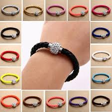 leather rhinestone bracelet images Rhinestone pu leather cuff bracelet magnetic buckle wrap wristband jpg
