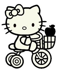 hello kitty riding bike coloring page h u0026 m coloring pages