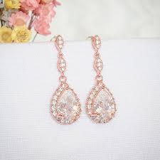 gold teardrop earrings gold bridal earrings wedding earrings zirconia