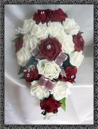 burgundy roses brides teardrop bouquet wedding flowers ivory burgundy roses