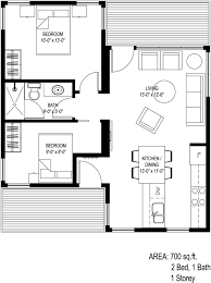700 Sq Ft House Plans 2 Bed 1 Bath Tiny House Plans Escortsea