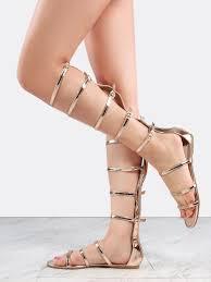 metallic knee high gladiator sandals rose gold shein sheinside