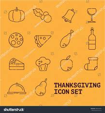 thanksgiving vector icons line big set stock vector 488754760