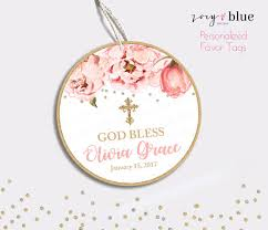 thank you tags floral baptism favor tag peony christening thank you tags