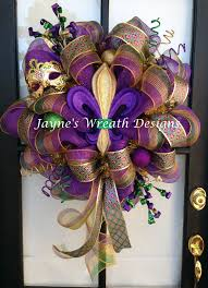 mardi gras deco mesh wreath with fleur de lis ribbon mask