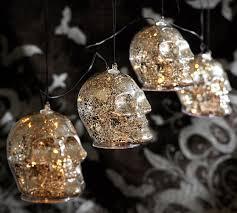 c lights string lit silver skull string lights pottery barn