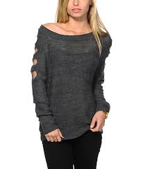 cold shoulder sweaters trillium cold shoulder charcoal sweater zumiez