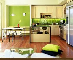 green and yellow kitchen ideas with tile backsplash and brown