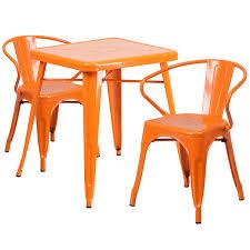 Square Orange Metal IndoorOutdoor Table Set With  Arm - Indoor outdoor sofas 2
