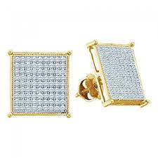 mens earrings gold kite earrings 0 15cttw diamond mens earrings large 7mm wide