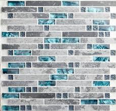 Grey Blue Backsplash Blue Shell Tile Glass Mosaic Kitchen - Blue tile backsplash kitchen