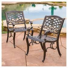 patio chair sarasota set of 2 cast aluminum patio chair hammered bronze