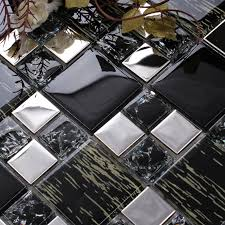 silver stainless steel black crystal glass tile backsplash ideas