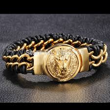 leather stainless steel bracelet images For men jewelry genuine leather wristband bracelet stainless steel jpg
