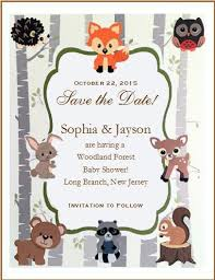 woodland creature baby shower woodland forest animals baby shower save the date cards pavia