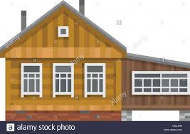 small country house meadow and wooden fence stock vector art old russian country house all season dacha wood cabin for living vector illustration