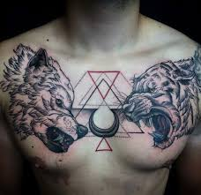 tattoo chest triangle colorful nice geometric triangle and jaguar and wolf chest tattoo