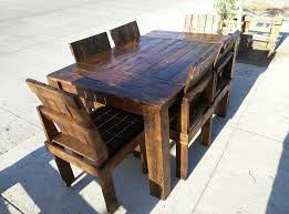 wooden pallet dining table and chairs set pallet dining tables