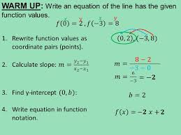 3 5 2 calculating the y intercept given a point and slope given