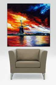 Paintings For Living Room Online Shop Handpainted Abstract Oil Painting Windmill Canvas Wall