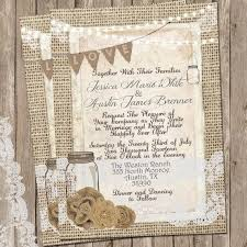 burlap wedding invitations rustic burlap and lace wedding invitation invite jar
