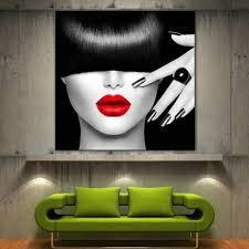 Home Decor Canvas Art Red Lips Face Modern Home Decor Fine Wall Art Black White
