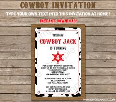 cowboy party invitations template cowboy party invitations