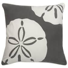 beach house decor thomas paul sand dollar charcoal outdoor pillow